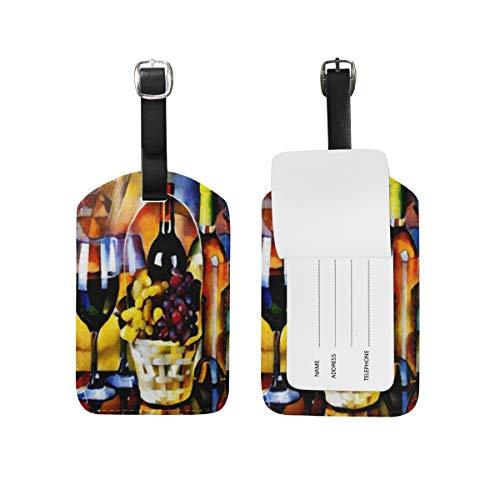 Bagage Tag voor Bagage koffer Druif Wijn Glas Fles Lederen Reistas Adres Etiketten 1 Stuk