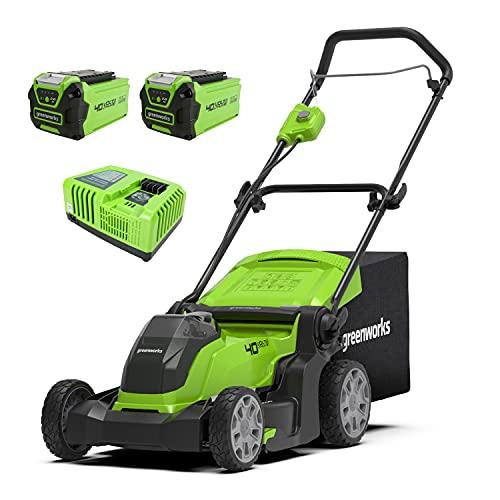 Greenworks Tosaerba a Batteria G40LM41K2X - Li-Ion 40V, Taglio 41 cm, fino a 600 m2, 2in1 Pacciamare e Tosare, Cesto 50l, Regolazione Altezza, Taglio 5 Livelli, 2 Batterie 2Ah e Caricatore Rapido