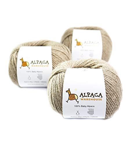 100% Baby Alpaca Yarn Wool Set of 3 Skeins Lace Worsted Bulky/Chunky Weight - Heavenly Soft and Perfect for Knitting and Crocheting (Beige, Worsted Weight)