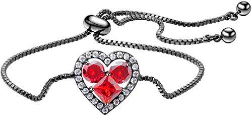 LAMUCH 24k zwart goud vergulde hart armband voor vrouwen meisjes bedeltje armband rood hart sieraden armband (verstelbare ketting)