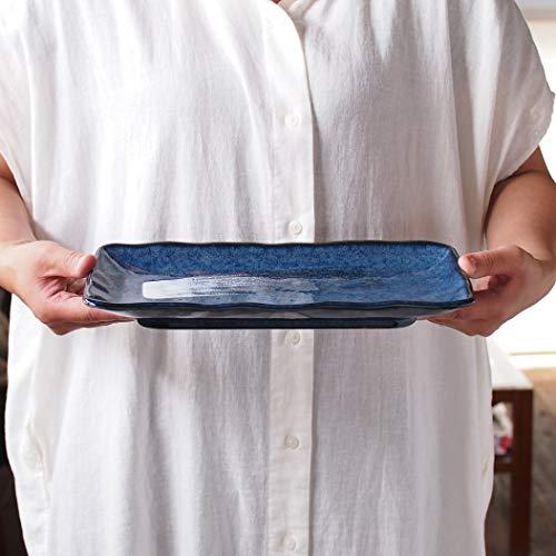 みのる陶器(Minorutouki)長皿窯変紺白刷毛28.3×13.5cmさんま皿