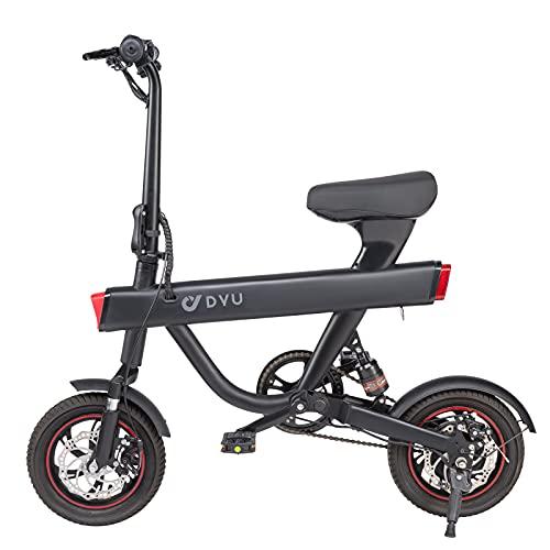 DYU Vélo Électrique Pliant, 12 Vélo Adulte Pliant Moteur 240W, Vitesse jusquà 25 km/h, 40km la Longue Portée, 36V 10Ah Batterie, City E-Bike (Noir)