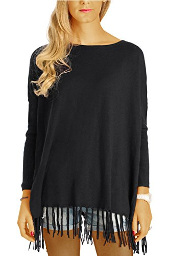 bestyledberlin Damen Pullover, Fransen-Oberteil, Relaxed Fit Strickpullover, Poncho t55z schwarz