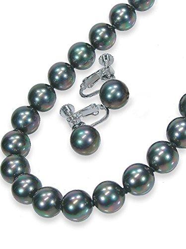 黒真珠ネックレスイヤリングセットピーコック系カラー黒蝶貝パール9.0ミリアップ42センチサイズ<日本製> ...
