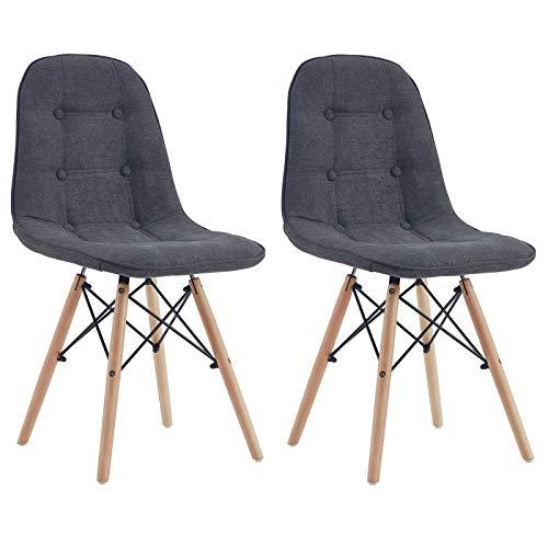 IDIMEX Lot de 2 chaises Cesar pour Salle à Manger ou Cuisine avec 4 Pieds en Bois et Assise capitonnée, revêtement Tissu Gris