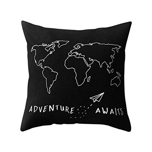 sukisuki mundo mapa decorativo funda de almohada Funda de cojín casa sofá funda de...