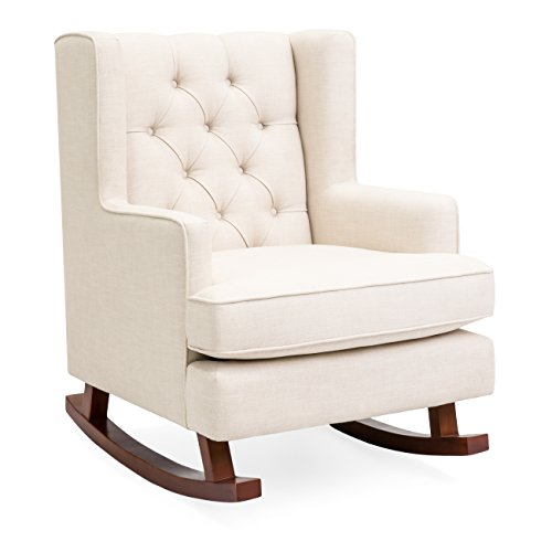 Best Choice Products Tufted Upholstered Wingback Accent Chair Rocker w/Wood Frame, Beige