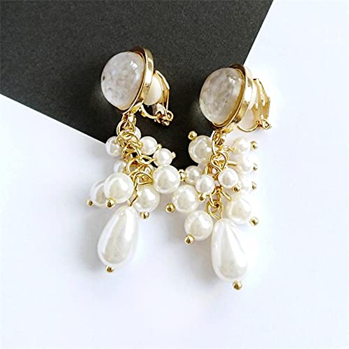 FEARRIN Pendientes Vintage Retro Gold Mujer Chica Pendientes de aro Joyas Pendientes de Perlas de Concha para Mujer Whiteshellclip