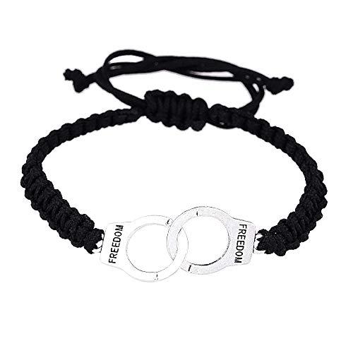 Armband - vrijheid - handboei armband - gevlochten - vrijheid - verstelbaar - touw - zwart - vrouwelijk - meisje - origineel cadeau-idee - zilver - verjaardag - kerstmis - sieraden