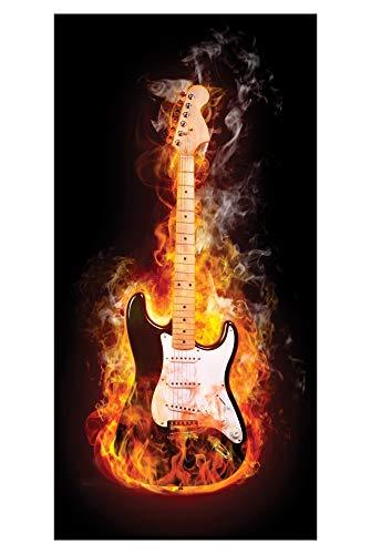 LimeWorks Badetuch, 70x140 cm, brennende E-Gitarre, Made in EU