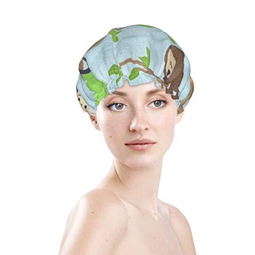 Mokale Shower Caps for men Women 2 Pack - Animals Lizard Chameleon Monkey Frog Sloth Waterproof Bathing Shower Hat Hair Protection EVA Shower Caps Reusable