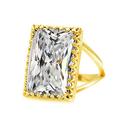 JewelryGift Cubic Zircon Faceted Rectangle Shape 18K Gold Plated Gemstone Rings White Fashion Jewelry Rings for Womens Z