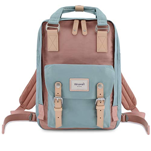 Himawari School Waterproof Backpack 14.9' College Vintage Travel Bag for Women,14 inch Laptop for Student (pink&blue)