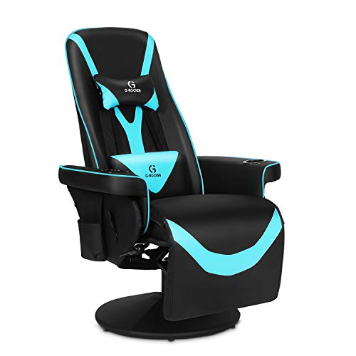 Modern-Depo G-Rocker Queen Throne Video Gaming Chair, Ergonomic High Back Recliner Swivel Racing Chair with Adjustable Backrest and Footrest, Lumbar Support, Headrest and Cupholders, Black Blue
