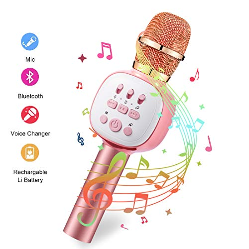 Wireless Bluetooth Karaoke Microphone, Portable Kids Microphone Karaoke Player Speaker with LED & Music Singing Voice Recording for Home KTV Kids Outdoor Birthday Party Qarfee Pink