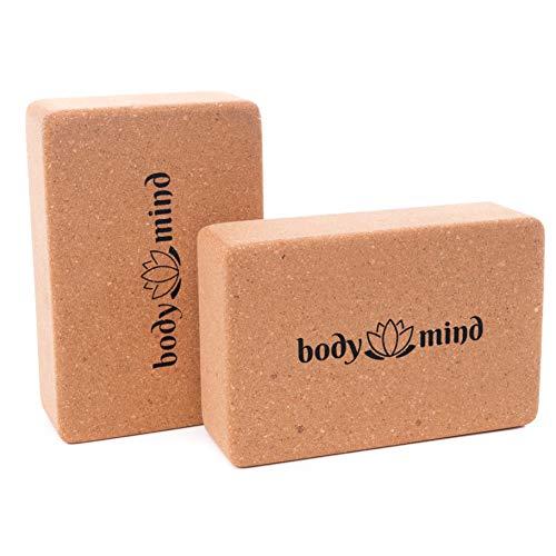 Body & Mind Yoga-Block 2er Set aus Kork 100{9c241c1db8bbecbd29929a360628fd3cf401f62b651634f0a4545c9ee597cc5e} Natur für Yoga, Pilates, Meditation & Fitness - Yoga-Klotz für Anfänger und Profis (2 Stück)