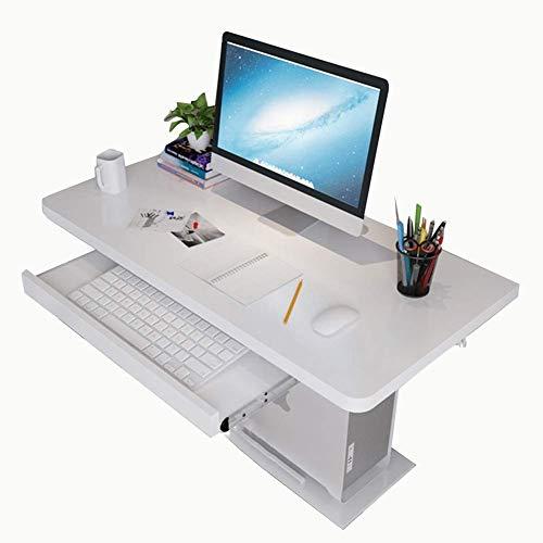 Hangende opbergtafel bureau laptopstandaard multifunctioneel bureau met opbergvak houten plaat meerkleurig en meerdere maten wit 100 x 40 cm 80 x 40 cm, wit