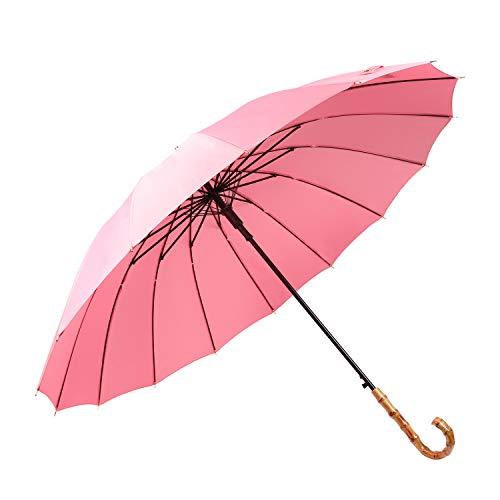 Lanker Stockschirm, langlebig und stark genug für den heftigen Wind und starken Regen, Unisex Golf Regenschirm mit J-Griff / 16 Rippen KS08Pink