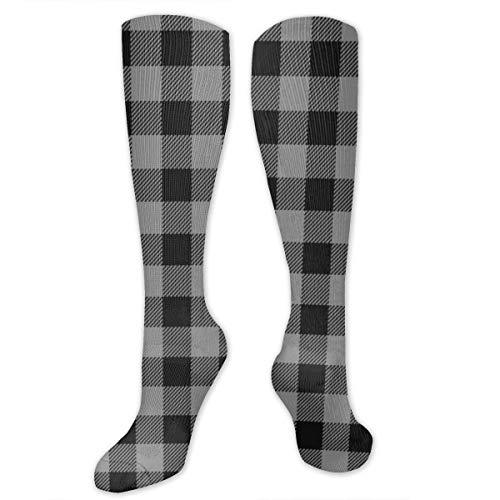 Meiya-Design Pet Quilt Coordenada Buffalo Plaid Gris oscuro Alto Rendimiento Athletic Casual Long Sock para mujeres y hombres – apto para viajes, correr, senderismo, fútbol