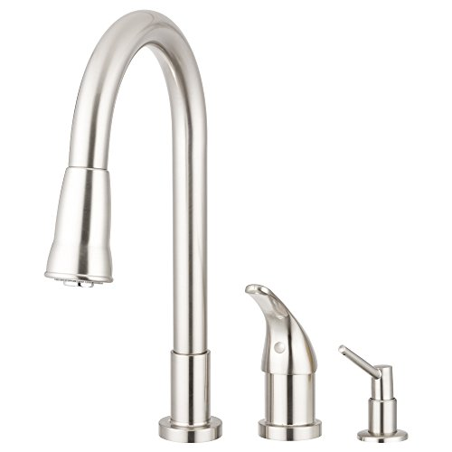 Pacific Bay Grandview Pull-Down Kitchen Sink Faucet with Soap Dispenser (Brushed Satin...