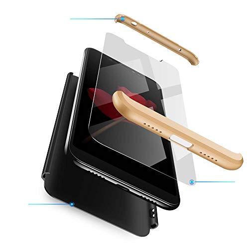 cmdkd Funda Compatible con Xiaomi Redmi Note 6 Pro,Case Bumper 3 en 1 Estructura 360 Grados Integral para Ambas Caras Hard Skin Carcasa + Cristal Templado.Oro Negro