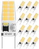 SHINESTAR 12-Pack G8 LED Bulb Dimmable, 20W-25W Equivalent, 3000K Warm White, T4 Type Bi-Pin Base, Under Cabinet Light Bulb