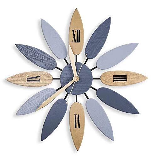 BGROESTWB Relojes de Pared Reloj de Pared decoración de la Hoja Creativo Reloj de Pared Retro Europeo de Hierro Forjado for el Dormitorio/Sala de Estar Sala de Estar Decorativa