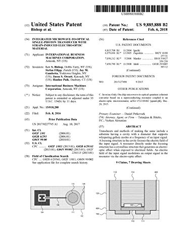 Integrated microwave-to-optical single-photon transducer with strain-induced electro-optic material: United States Patent 9885888...