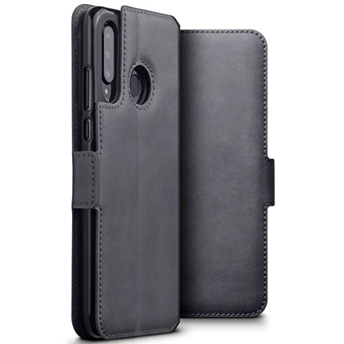 TERRAPIN, Kompatibel mit Huawei P30 Lite Hülle, Premium ECHT Spaltleder Flip Handyhülle Huawei P30 Lite Hülle Tasche Schutzhülle, Grau