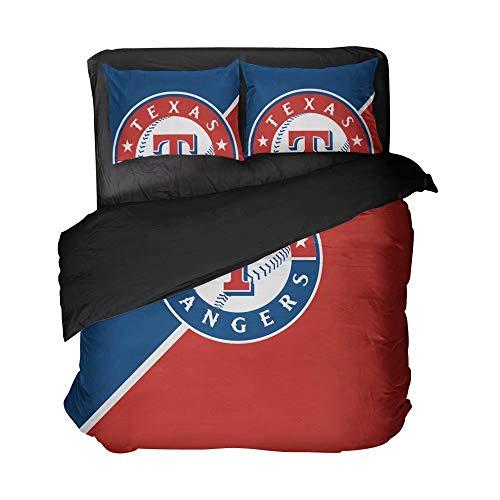 Maspt Texas Red and Blue Baseball Bed Sheet Set Comfortable Cotton Bedspread Set for Men(Twin 3pcs)