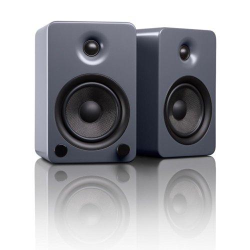 "Kanto YU5 5.25"" 2-Way Powered Bookshelf Speakers with aptX Bluetooth 4.0 - Matte Grey (YU5MG)"