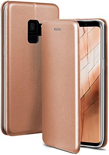ONEFLOW Handyhülle kompatibel mit Samsung Galaxy S9 - Hülle klappbar, Handytasche mit Kartenfach, Flip Hülle Call Funktion, Leder Optik Klapphülle mit Silikon Bumper, Rosegold