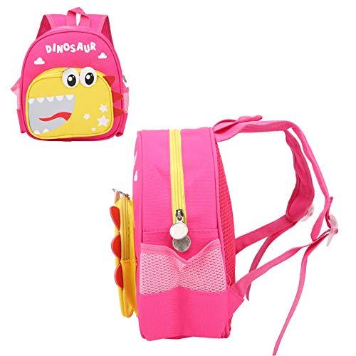Germerse Mochila Escolar, Mochila con diseño de Dinosaurio, Ajustable para la Escuela de Viaje para niños en casa(Dark Pink)