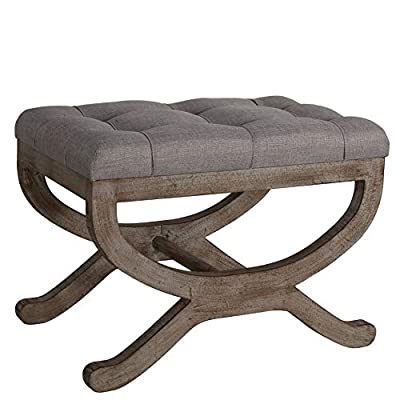 """Cortesi Home Falmouth X-Bench Ottoman with Solid Wood Legs 17"""" High Beige"""