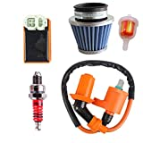 Ketofa GY6 Coil Racing Air Filter CDI Ignition for 50cc 125cc 150cc 139qmb 152qmi 157qmj with Fuel Filter Spark Plug Engine Atv Mopeds Scooter Go Karts Parts