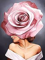 油絵 数字キットによる絵画 手塗り DIY絵 デジタル油絵 ホーム オフィス装飾-花を持つ少女の肖像画アート 40X50cm フレームレス