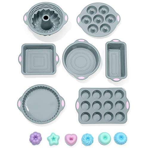 To encounter 31 Pieces Silicone Bakeware Set - 7 Silicone Baking Cake Pans - 24 Silicone Cake Molds Non Stick Muffin Cups Liners with Metal Reinforced Frame More Strength (Light Gray with Pink)