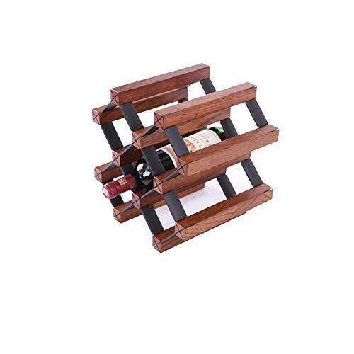 Tirador de vinos de bambú de forma de cuadrícula inclinada de encimera - encimera de madera Rack de vino Rack Bodega de vino, Tanque de almacenamiento de botellas de escritorio 6 Botellas (ensamblaje)