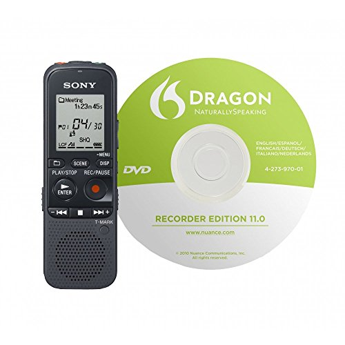 Sony ICD-PX312D Digital Flash Voice Recorder Includes Dragon Naturally Speaking Voice to Print Software
