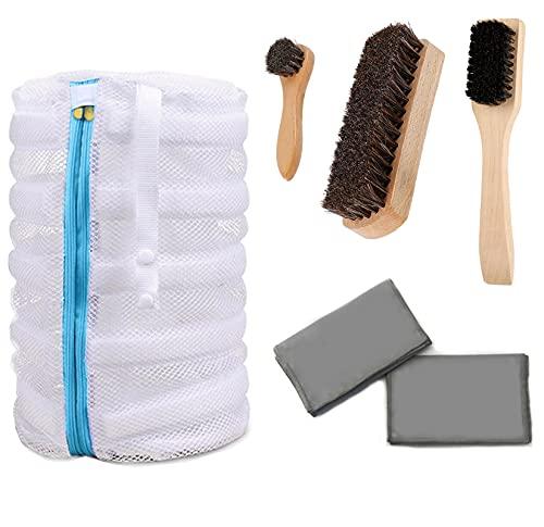 Kit de limpieza de zapatos bolsas de lavandería para lavadora, incluye 3 cepillos de limpieza, 2 paños de microfibra para pulir y bolsa de lavado de zapatos.