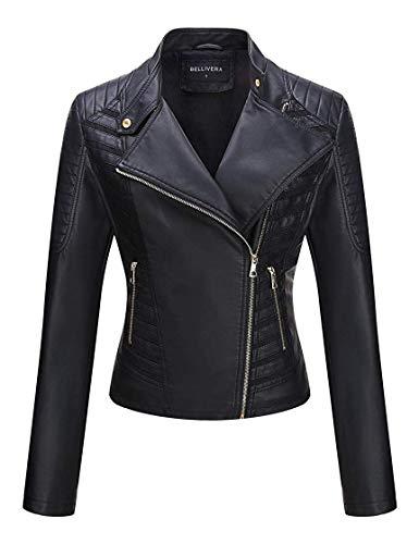 Bellivera Damen PU Lederjacke (3 Farben), Bikerjacke mit Reißverschluss, Kurze Jacke für Herbst, Frühling, XXL