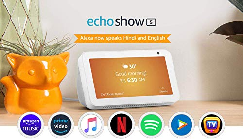 "Introducing Echo Show 5 - Smart display with Alexa - 5.5"" screen & crisp sound (White)"
