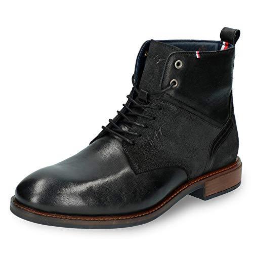 Tommy Hilfiger Herren Elevated Tall Leather Mix Boot Klassische Stiefel, Schwarz (Black 990), 44 EU
