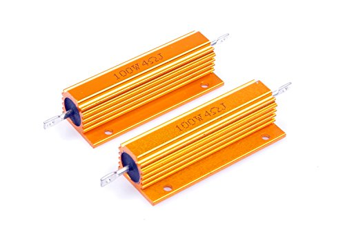 LM YN 100 Watt 4 Ohm 5% Wirewound Resistor Electronic Aluminium Shell Resistors Gold Suitable for Inverter, LED Lights,Frequency Divider, Servo Industry 2-Pcs