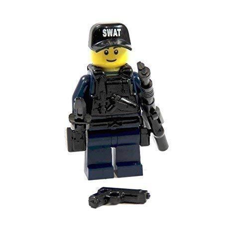 Markenwelt-Voegele Custom SWAT Agent aus Lego® Teilen und Custom Zubehör blau Waffe Helm