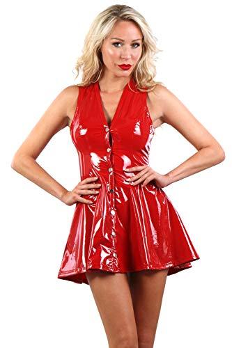 Miss Noir Damen Sexy Vinyl Minikleid S-3XL A-Linie V-Ausschnitt Partykleid Exklusives Clubwear Vinylkleid (Rot, 3XL)