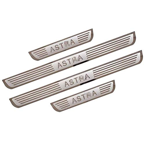 BNHHB 4Pcs Car Door Sill Protector For Opel Vauxhall ASTRA J 2010-2019, Stainless Steel Outer Door Entry Guards Scuff Plate Anti-Scratch Kick Plates Welcome Pedal Plate Guard Threshold Accessories