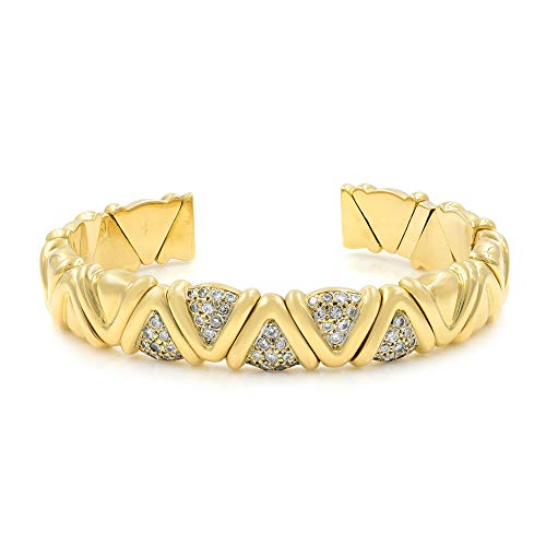 Rachel Koen 18k Yellow Gold Solid Cuff Diamond Bracelet 1.00cts