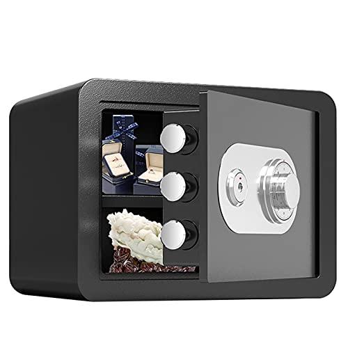 Cajas Fuertes Cajas Fuertes Resistentes Al Fuego, Caja De Almacenamiento Antirrobo Seguro De Acero Pequeño para Oficina En Casa, Caja Fuerte Mecánica con Llave, 37x31x30cm (Color : Black)
