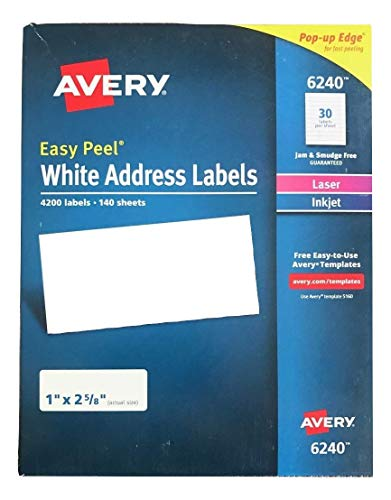 Avery Easy Peel White Address Labels for Laser Printers 6240, 1' x 2-5/8', Box of 4200